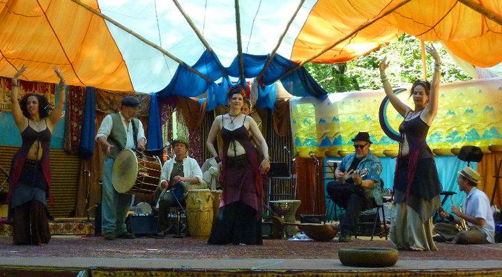 Negara and Origin at Oregon Country Fair Gypsy Caravan Stage Veneta Oregon - Photo by Dave Goodman