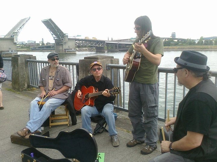 Busking Portland Water Front - Photo by Jen Mayfield-Shafer