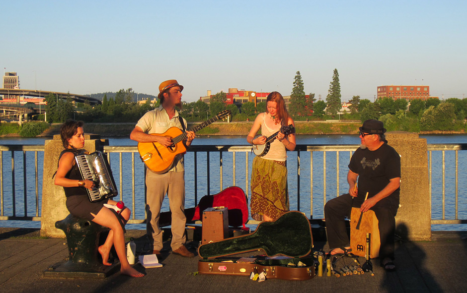Summertime Busking on Portland Waterfront - Photo by Jen Mayfield-Shafer