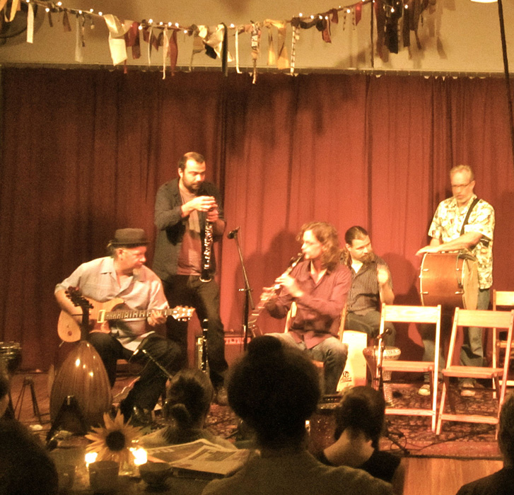at Mid-East Cafe at Datura Studio in Portland with Peter Jaques - Photo by Jen Mayfield-Shafer